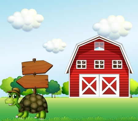 outside the house: Illustration of a  turtle with a wooden arrow board and a barn at the back