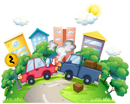 car accident: Illustration of a car crash in the city on a white background Illustration