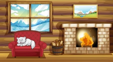 log wall: Illustration of a cat sleeping at the sofa near the fireplace Illustration