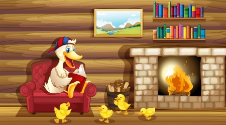 Illustration of a duck and her ducklings near the fireplace Stock Vector - 20727581