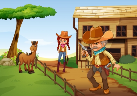 cowgirl and cowboy: Illustration of a cowgirl and an armed cowboy near the barnhouse