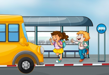 woman run: Illustration of the happy passengers at the bus station Illustration