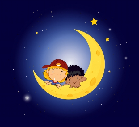 sleeping man: Illustration of a moon with two kids Illustration