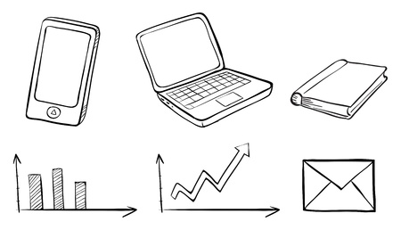 Illustration of a doodle set of the different gadgets on a white background Vector