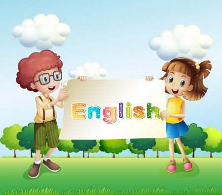 english girl: Illustration of a boy and a girl holding a banner Illustration