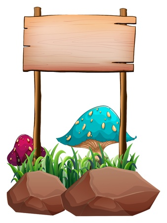 Illustration of an empty wooden signboard near the big mushrooms and rocks on a white background Stock Vector - 20729699