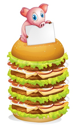 Illustration of a pig holding an empty signage at the top of the hamburger on a white background