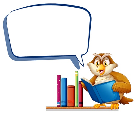 Illustration of an owl reading a book with an empty rectangular callout on a white background Illustration