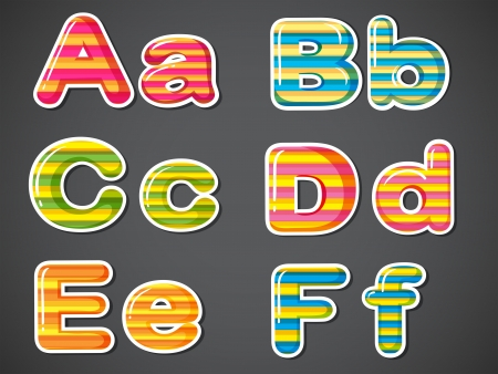 alphabetical order: Illustration of the letters in stripe colors on a gray background
