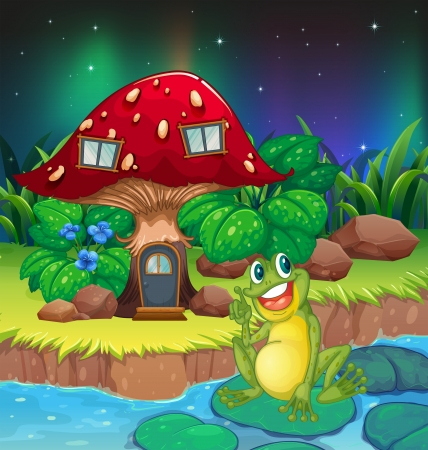 Illustration of a frog sitting on a waterlily near the mushroom house Vector