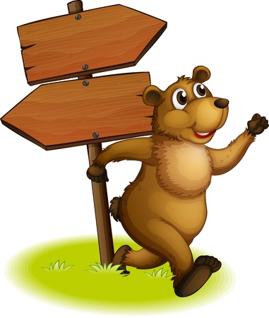 nailed: Illustration of a bear running with a wooden arrow board at the back on a white background