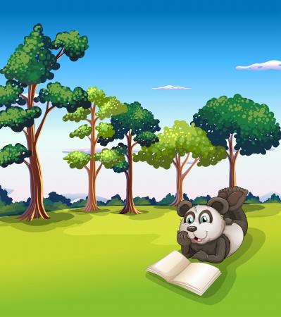 panda bear: Illustration of a  panda lying at the grass while reading a book