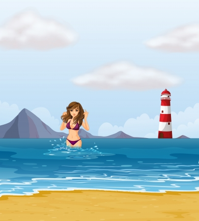 Illustration of a beach with a lady in a purple bikini Stock Vector - 20727598