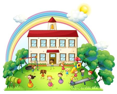 白い背景の上に、学校の前で遊んでいる子供たちのイラスト