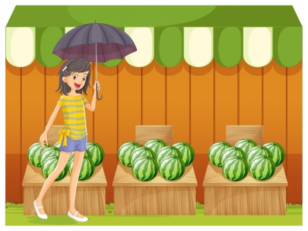 watermelon woman: Illustration of a girl holding an umbrella walking in front of the watermelon shop on a white background