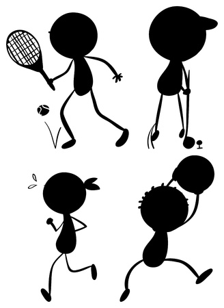 Illustration of the sport silhouettes on a white background Vector
