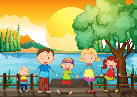 multiple image: Illustration of a happy family at the wooden bridge