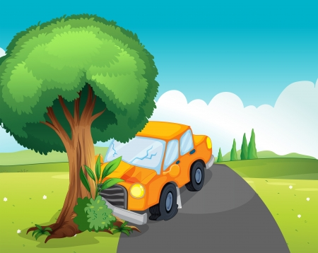 crashed: Illustration of a car crash at the road with a big tree