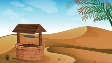 desert landscape: Illustration of a well at the desert