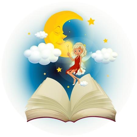 libro de cuentos: Ilustraci�n de un libro de cuentos con un hada y una luna durmiendo sobre un fondo blanco