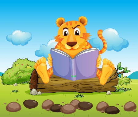 Illustration of a tiger reading a book seriously Stock Vector - 20729572