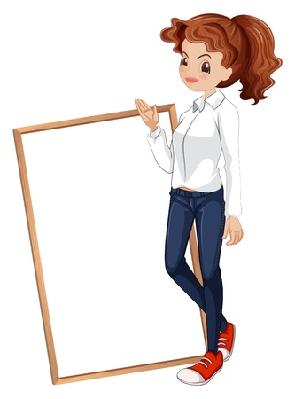 Illustration of a lady in a formal attire standing in front of the signboard on a white background  Vector
