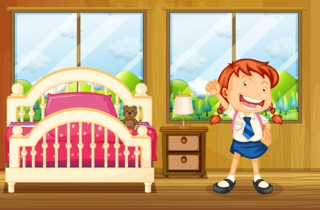 stuff toys: Illustration of a girl wearing her school uniform