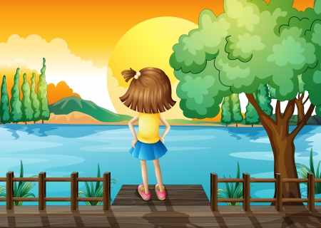 facing: Illustration of a girl standing facing at the river