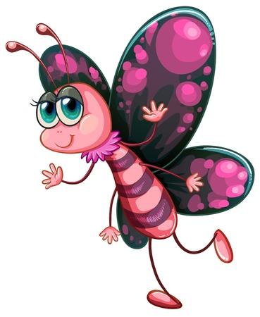 butterflies flying: Illustrazione di una farfalla rosa su uno sfondo bianco
