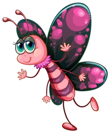 cartoon butterfly: Ilustraci�n de una mariposa de color rosa sobre fondo blanco Vectores