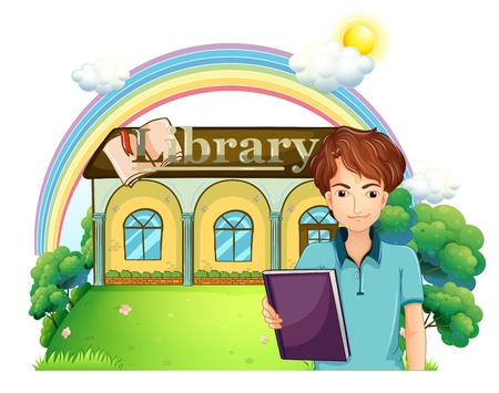 Illustration a boy holding a book standing in front of the library on a whte background Vector