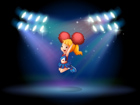 stageplay: Illustration of a cheerleader jumping in the middle of the stage