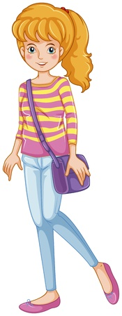 Illustration of a fashionable girl with a purple slingbag on a white background Vector