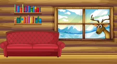 Illustration of an empty sofa with bookshelves at the back Stock Vector - 20729582