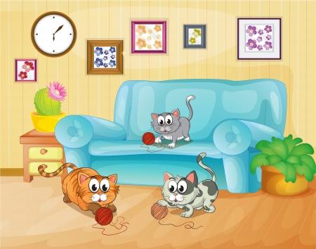 家の中で遊んで 3 匹の猫のイラスト  イラスト・ベクター素材