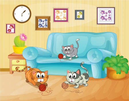 Illustration of the three cats playing inside the house Ilustração
