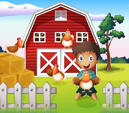 Illustration of a boy playing with his farm animals Vector