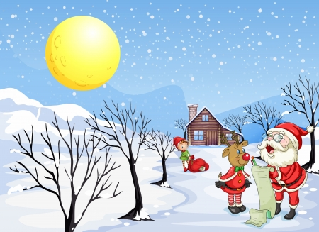 good evening: Illustration of a reindeer beside Santa Claus with his list Illustration