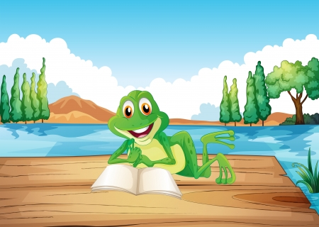 Illustration of a frog reading a book at the wooden diving board Vector