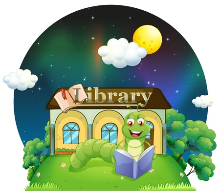 Illustration of a worm reading a book in front of the library on a white background  Stock Vector - 20729594