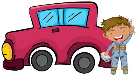 Illustration of a happy boy holding his tools in front of the pink car on a white background Stock Vector - 20727632