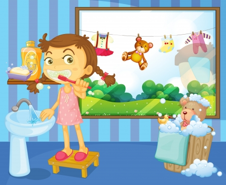 clean teeth: Illustration of a child brushing her teeth Illustration
