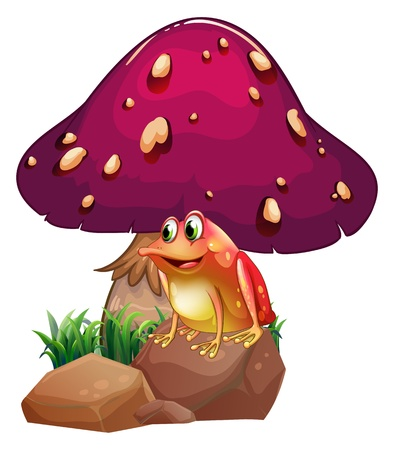 giant mushroom: Illustration of a frog below the giant mushroom on a white background