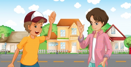 Illustratie van de twee jongens die aan de overkant van de grote huizen aan de weg