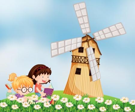 barnhouse: Illustration of the girls reading at the hilltop near the barnhouse