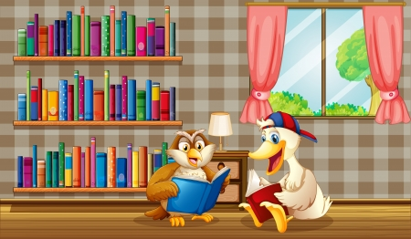 Illustration of an owl and a duck reading inside the house Stock Vector - 20727642