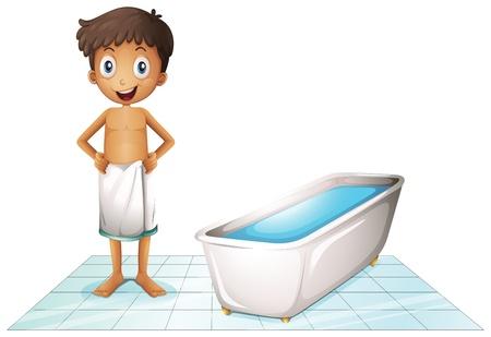 aseo personal: Ilustración de un niño en el baño sobre un fondo blanco