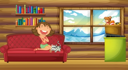 Illustration of a girl and her pet sitting at the couch inside the house Vector