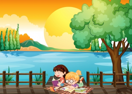 Illustration of the two girls studying at the wooden bridge Stock Vector - 20729518