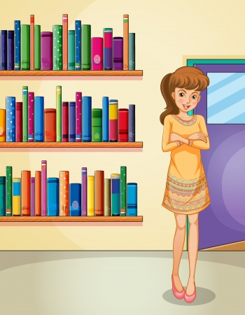 Illustration of a lady standing in front of the bookshelves Stock Vector - 20729521